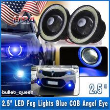 2x 2.5'' Car LED Angel Eyes Blue Halo Ring DRL Projector COB Fog Driving Light