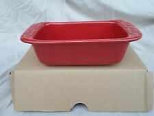 Longaberger Pottery Woven Tradition Tomato Red Small Loaf Baking Pan Dish Nib