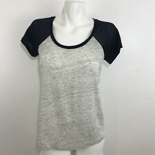 J Crew Womens Short Sleeve Gray Blue Heathered Top T-Shirt Size XS Linen