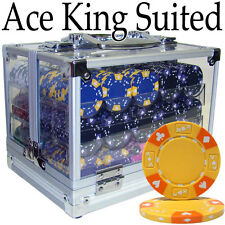 New 600 Ace King Suited 14g Clay Poker Chips Set w/ Acrylic Case - Pick Chips!