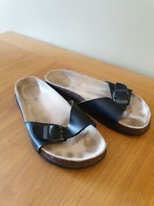 Summer Sandals by Topshop Black Strappy Flat Shoes UK Size 4 EU 37