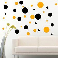Set Of 56 Black / Yellow Polka Dots Circle Wall Decal Vinyl Sticker Wall DIY Pat