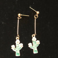 Betsey Johnson Dangling Cactus Enamel Post Earrings ~Free Shipping~