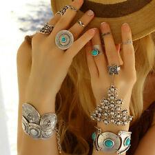 Turquoise Boho Antique Silver Statement Fashion Large Unique Adjustable Ring
