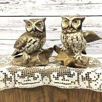 Vintage Homco #1114 Porcelain Owl Figurines - Set of 2