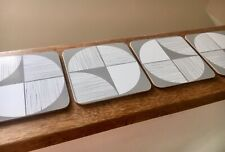 4 Grey White Square Geometric Tile Print Pattern Mdf Drink Coasters Coffee Table