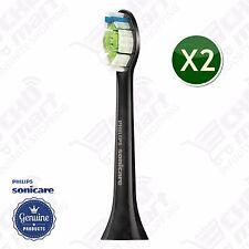 2x Black Philips Sonicare DiamondClean Genuine Brush Heads HX6062 (New w/o Box)