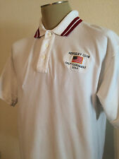 Men's Size XL Berkeley Club Golf Tournament White Red Button Collar Polo Shirt