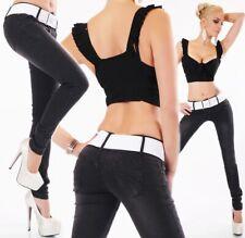 Skinny-Jeans Hüftjeans Hose kontrastfarbenen Stretch-Gürtel in vintage black