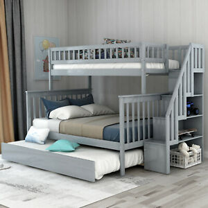 Twin Beds over Full Stairway Bunk Bed with Trundle Kid Teen Adults Bedroom Sale