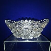 Glass Bowl Candy Trinket Dish Pressed Glass Vintage Collectible Sawtooth Edge