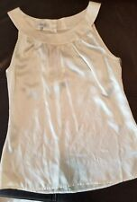 NWT FERAUD $445 Winter White Stretch Silk Satin Sleeveless Blouse Top size 4-C32