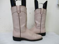 DIAMOND J Pink Leather Roper Cowboy Boots Womens Size 5.5 B Style 3714L