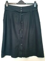 Next Black Linen Midi Button up Skirt with Belt (UK Size 14) BNWT