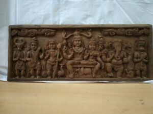 Antique Temple Wall Panel Shiva Parvati Family Sculpture Hand made Ganesh Statue
