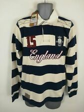 BNWT MENS OFFICIAL ENGLAND NAVY BLUE WHITE POLO RUGBY JERSEY SHIRT TOP S SMALL
