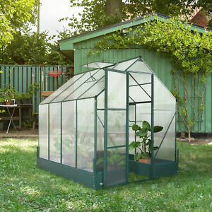 Outsunny Walk-in Greenhouse Garden Temperature Controlled Window with Foundation