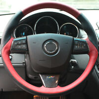 DIY Steering Wheel Cover Red Black Leather Hand Sewing For Cadillac ATS CTS