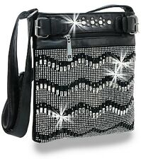 Rhinestone and Gem Chevron Design Cross Body Sling​ handbag