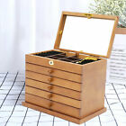 Large Wooden Jewellery Box Armoire Jewelry Cabinet Storage Case W/mirror Gift Us