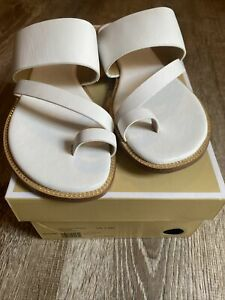 New Michael Kors Pratt Flat Leather Sandal OPTIC WHITE Size 7.5 Med READ DESCRIP