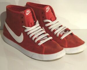 Mens Size UK 9.5 Red & White Hightop Retro Sports Trainers - Great Condition