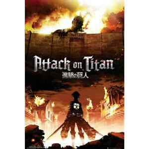 """Attack On Titan Fire Japanese Anime Huge 24x36"""" Wall Poster Trends Funmation"""