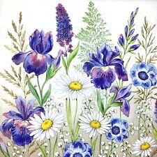 Bulk-0,85 $ /pc! 3 x Single Paper Napkins Decoupage Blue Iris Daisy Flowers M217