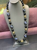 1950S Beaded Black And Gold Lucite Beaded  Long Sweater Necklace  30""