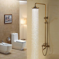 DL Antique Brass Vintage Wall Mount Shower Head Hand Shower Set Tub Mixer Faucet