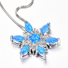 Multi Blue Fire Opal White Crystal Gems Solid Silver Flower Necklace Pendants