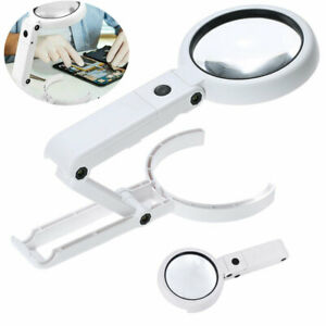 5X 11X Magnifying Glass With LED Light Magnifier Foldable Stand Desk Read New UK