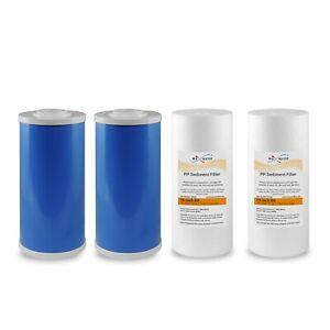"4.5"" x 10"" Big Blue Water Filters GAC Carbon & Sediment 4 Whole House Cartridge"