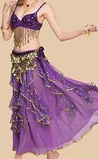 Professional Belly Dance Costumes Sets Solid Bra Belt Shinny Francy Dress Skirts