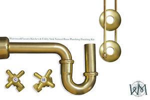 WatermarkFixtures Kitchen & Utility Sink Water Supply & Accessory Kit Nat Brass