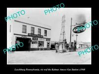 OLD LARGE HISTORIC PHOTO OF LEECHBURG PENNSYLVANIA, THE AMOCO GAS STATION c1940