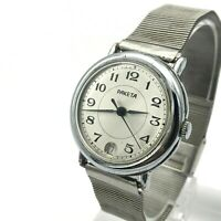 Retro Russian RAKETA Date Chrome Men's Classic 90s Analog SERVICED Vintage Watch