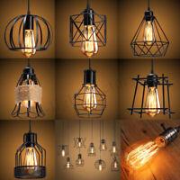 E27 Loft Vintage Industriel Cage Lampe Ampoule Abat-jour Pendentif Lustre