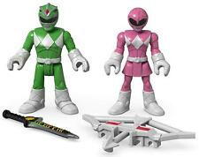 Imaginext Green & Pink Power Rangers Figures Fisher-Price Mighty Morphin Heroes