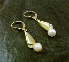 Goldohrringe mit Perle und kleinem Diamant 585er Gold Ohrhänger Ohrringe GG + WG
