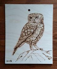 Owl, Bird, Wildlife, Original Wood Burn Drawing on Wood, Signed, Art Deco