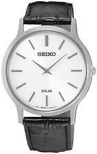 SEIKO SUP873P1 Solar Gents Slim Watch Black Leather Strap WR 2 Yr Guar RRP £149