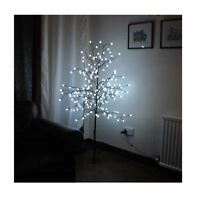 NEW WHITE 5FT PRE-LIT LIGHT UP 200 BERRY LED CHERRY BLOSSOM TREE CHRISTMAS XMAS