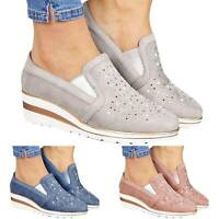 Womens Slip On Flat Trainers Ladies Casual Loafers Plimsolls Pumps Outdoor Shoes
