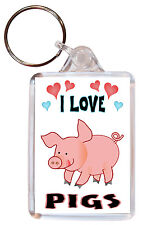 I Love Pigs / Pig - Double Sided Large Keyring Key Ring Fob Chain Gift