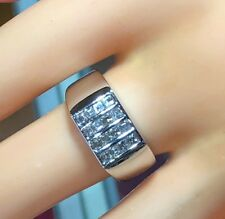 BANKRUPTCY -75% TOP QUALITY MENS 16 SQUARE CUT DIAMOND GEOMETRIC WHITE GOLD RING