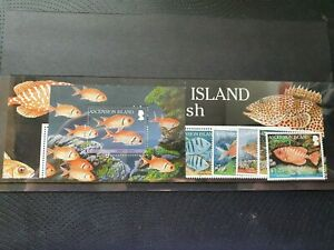 Ascension 2010 Reef Fish (1st series) set of 4, se-tenant strip of 4 and MS, MNH