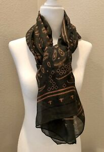 MCM Paisley Print Silk Scarf New With Tags Loden Green MEF7AMM03GX001