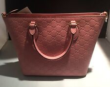GUCCI 432124 Signature GG Small Tote Handbag Pink Rose Violet Leather BRAND NEW