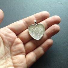 10 x Heart Pendants, Heart Bezels, Heart Pendant Blanks, For Resin/Polymer